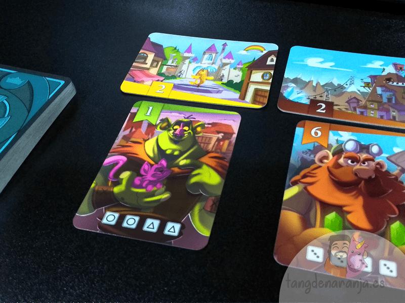 El Rey de los dados - Reseña del Juego de mesa de HABA. Colocación de las cartas.