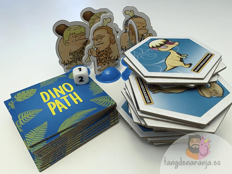 Componentes del juego de mesa Dino Path
