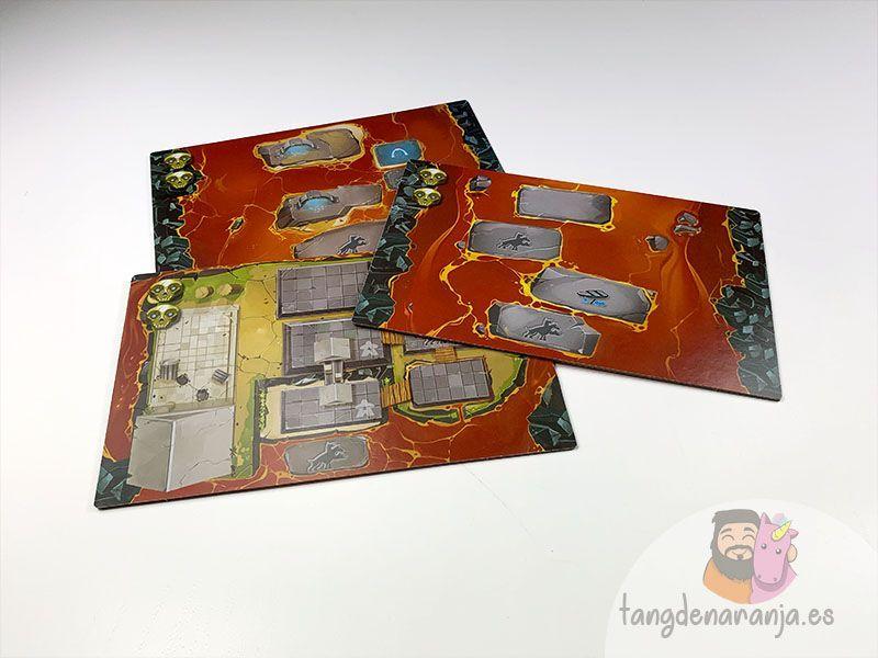 Tableros reversibles de Cerbero, el juego de mesa.