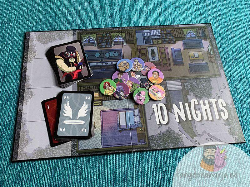 Componentes del juego de mesa 10 nights