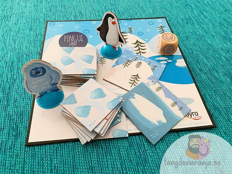 Componentes del juego de mesa Pingüi Land