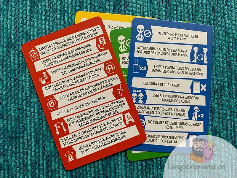 Cartas de ayuda juego de mesa Alien 51 el ascensor